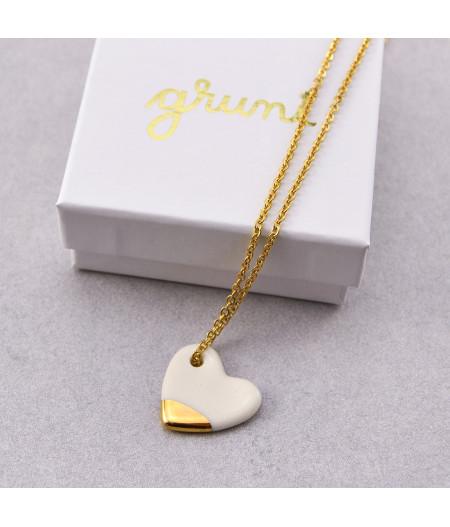 Colier cu inimioară din porțelan Aur