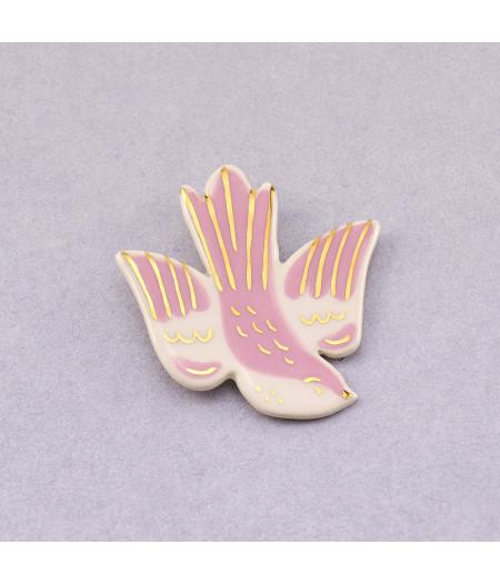 Broșă tip pin - pasăre în zbor Roz