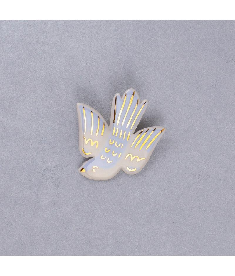 Broșă tip pin - pasăre în zbor Albastru pastel