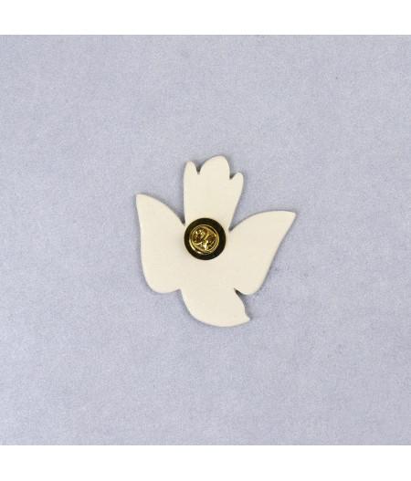 Broșă tip pin - pasăre în zbor Alb