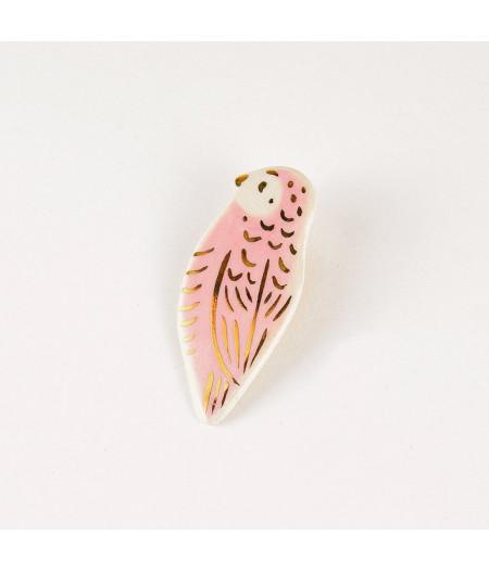 Broșă tip pin - pasăre roz