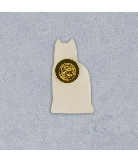 Broşă tip pin, din ceramică, cu pisică Magpie