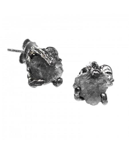 Cercei pe lobul urechii cu pietre brute