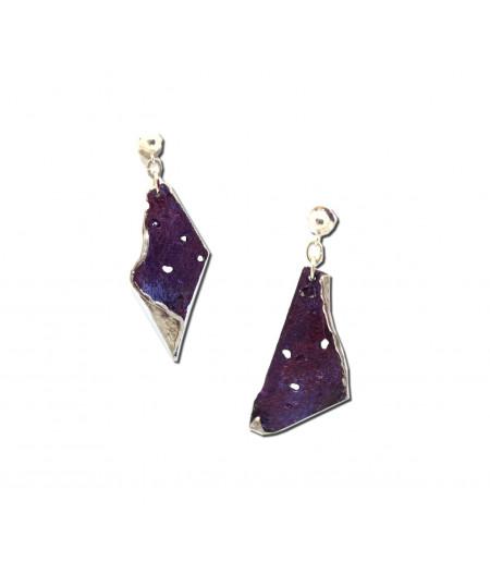 Cercei argint asimetrici Purple Extravaganzza