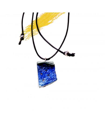 Colier casual argint Blue Twist pe snur reglabil