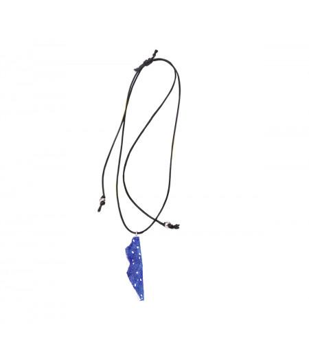 Colier casual argint Blue Waves pe snur reglabil