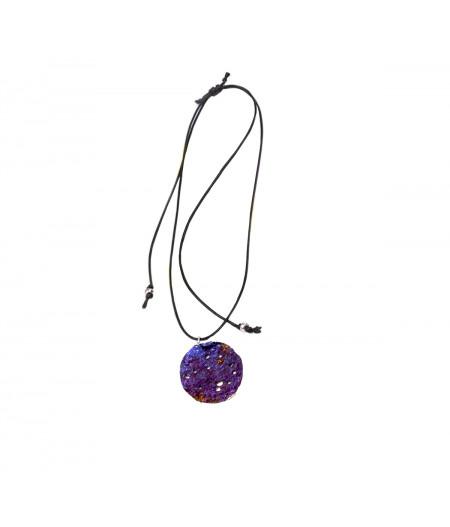 Colier casual argint Purple Drop pe snur reglabil