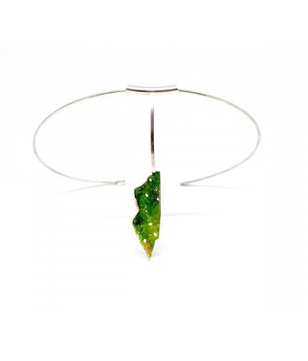 Colier-statement argint pe bara fixa Green Leaf