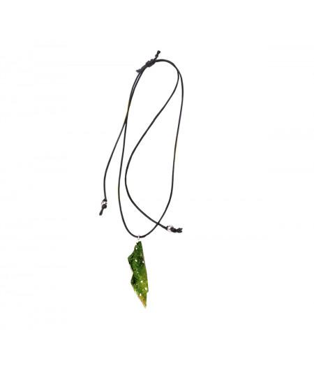 Colier casual argint Green Leaf pe snur reglabil