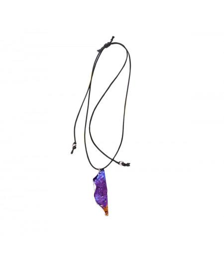 Colier casual argint Purple Leaf pe snur reglabil