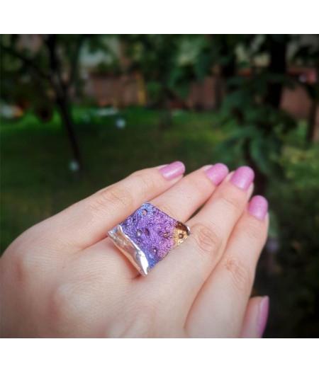 Inel argint Purple Madness