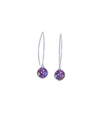 Cercei lungi argint Purple Drops