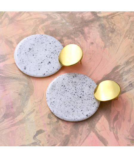 Cercei geometrici sare şi piper - cerc mare Accesoriu din inox