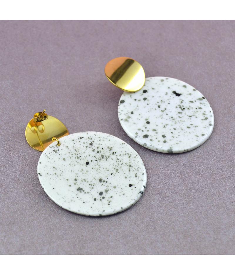 Cercei geometrici sare şi piper - cerc mare Accesoriu din inox auriu