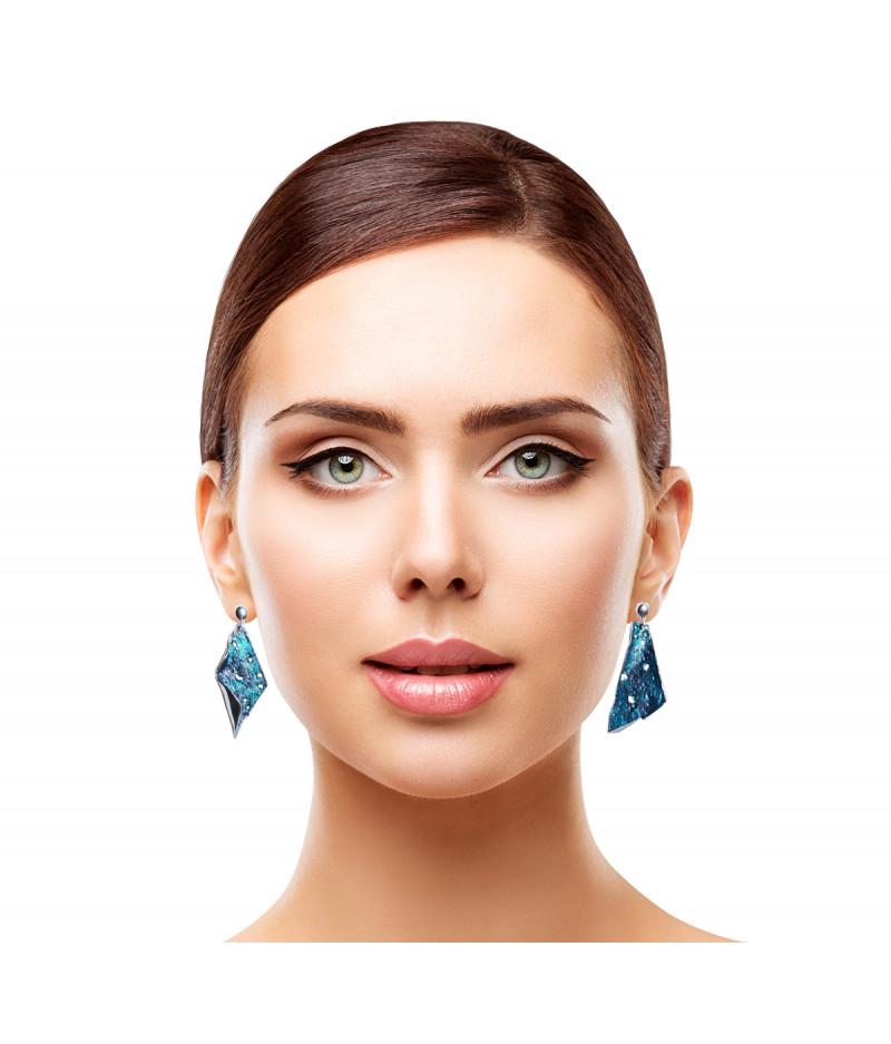 Cercei argint asimetrici Irresistible Turquoise