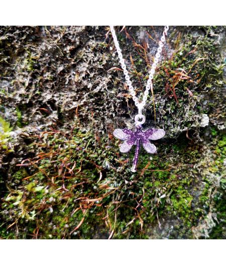 Colier argint Soft Lavander Dragonfly