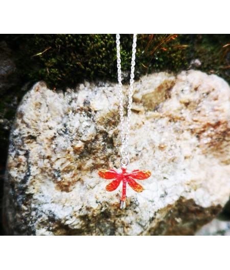 Colier argint Orange Dragonfly