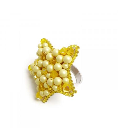 Inel argint cu cristale si perle Swarovski