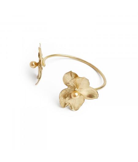 Bratara argint 925 placat cu aur Orhidee cu perle Swarovski/ Silver 925 gold plated Orhid bracelet with Swarovski pearls