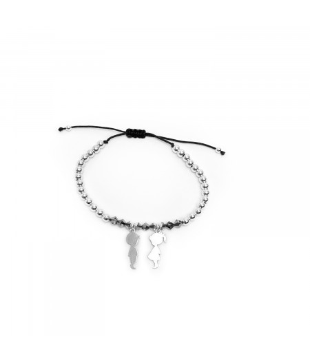 Bratara snur cu cristale Swarovski si elemente argint 925 / String bracelet with Swarovski and silver elements