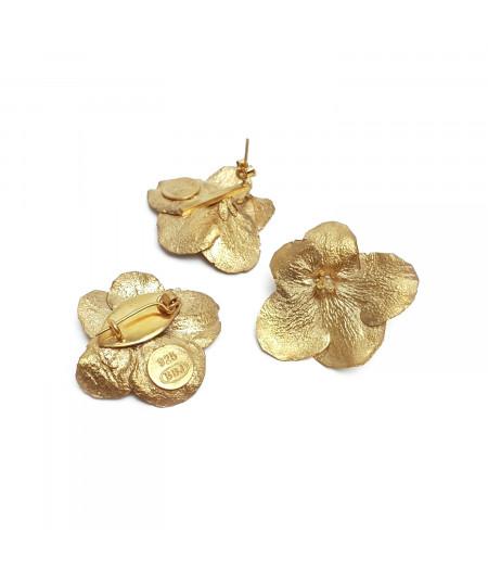 Set Cercei si Broșă Flower argint placat cu aur/ Silver gold plated Flower earrings and broache