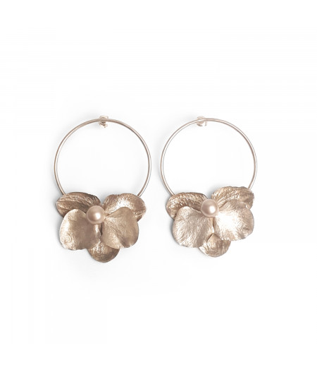 Cercei argint Orhidee cu perle Swarovski / Silver Orhid earrings with Swarovski perls
