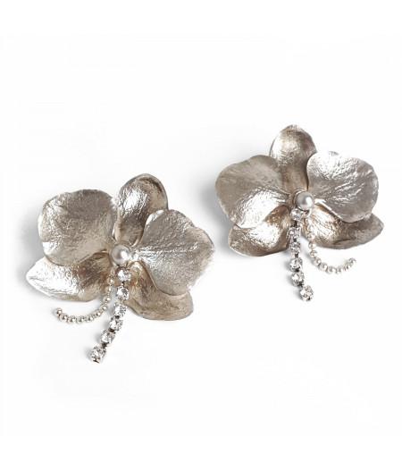 Cercei argint Orhidee cu cristale Swarovski / Silver Orhid earrings with Swarovski cristals