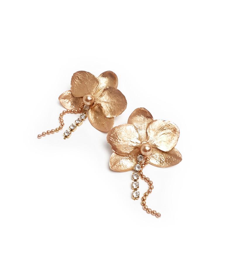 Cercei argint Orhidee cu perle si cristale Swarovski  / Silver Orhid earrings with Swarovski pearls and cristals