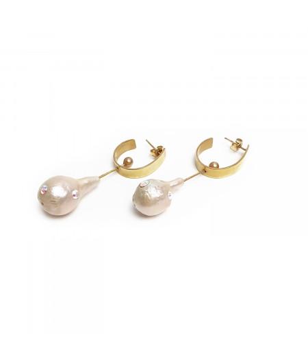 Cercei argint placat cu aur cu perle naturale / Silver gold plated earrings with Natural pearls