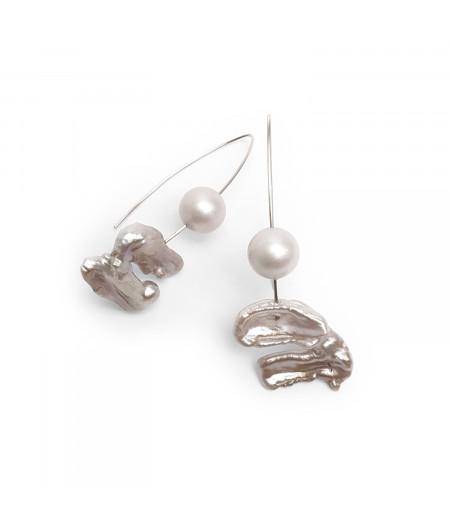 Cercei argint cu perle cultura si Swarovski/ Silver earrings with culture and Swarovski pearls