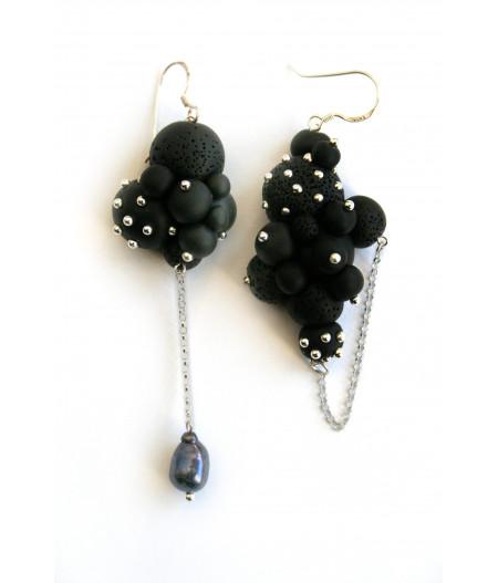 Earrings black spheres