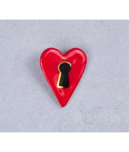 Broşă inimă-lacăt