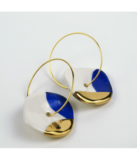 Cercei cerc / albastru cobalt și aur