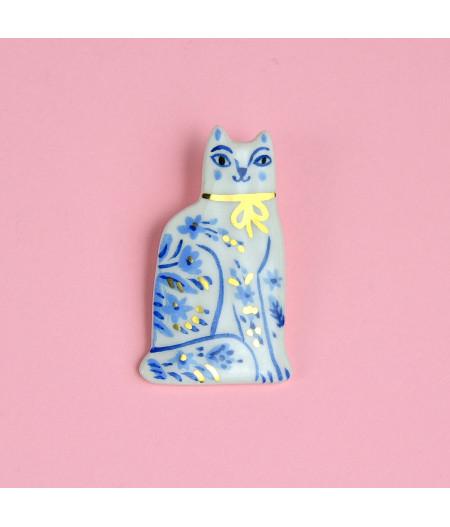 Broșă cu pin, Pisică din Delft