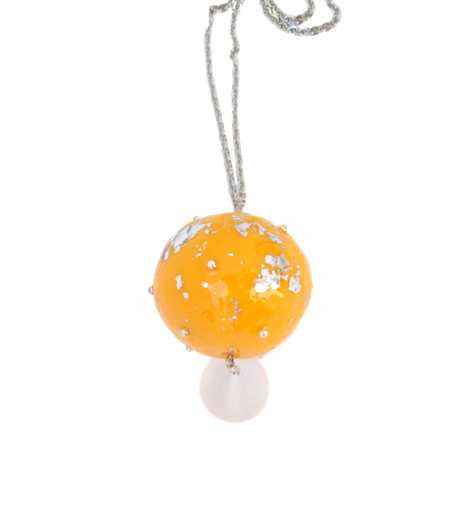 Candy-yellow-silver-foil-necklace
