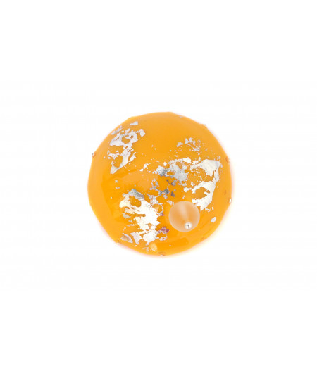 Candy-yellow-silver-foil-brooch