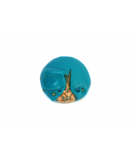 Candy-turquoise-golden-foil-brooch