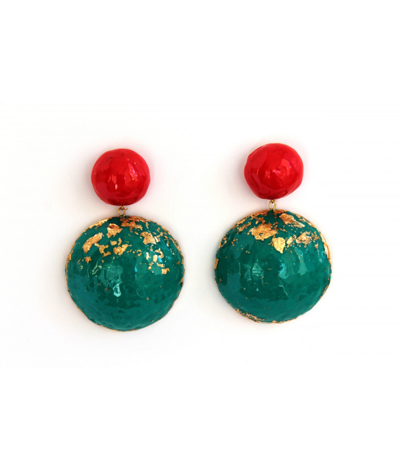 Candy-red-green-earrings