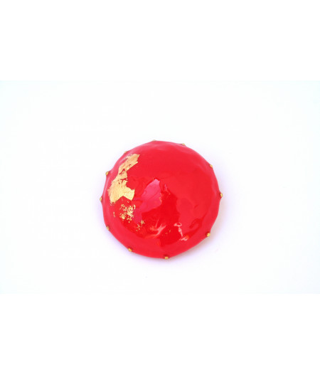 Candy-red-gold-foil-brooch