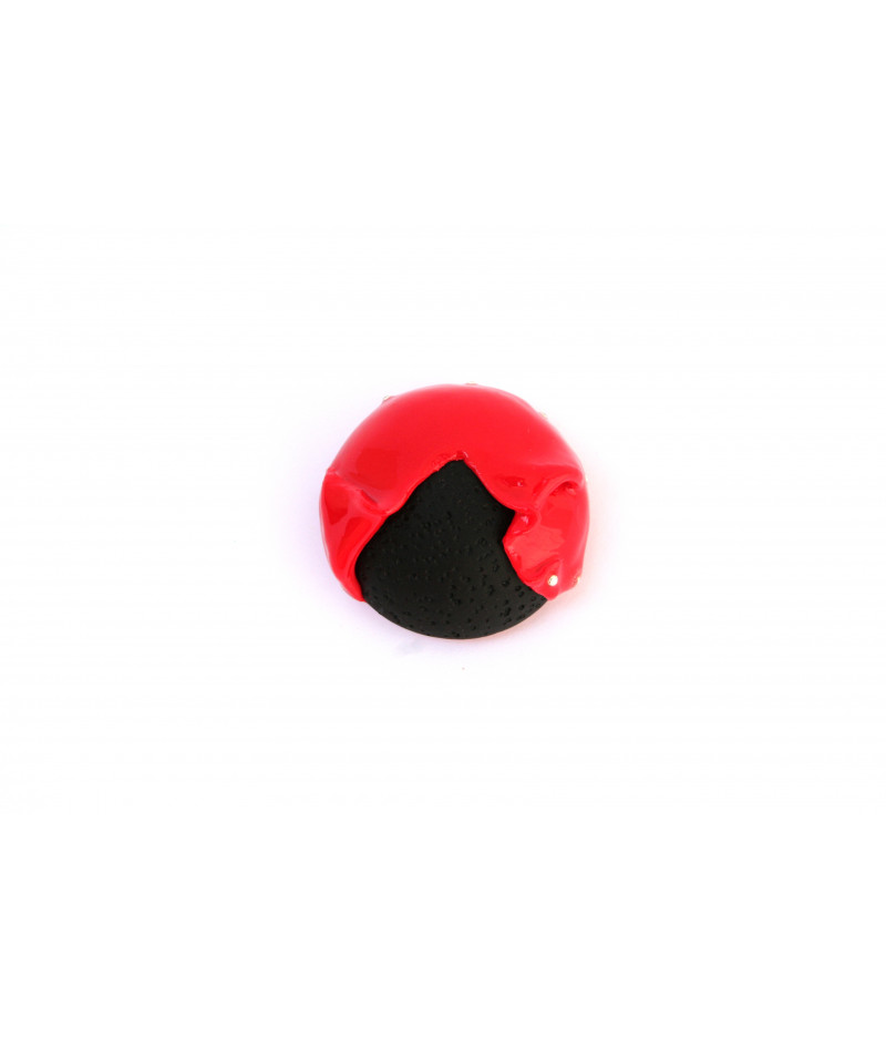 Candy-red-black-brooch