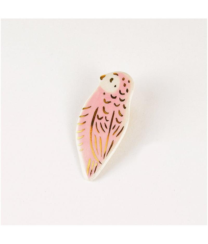 Brosa tip pin - pasare roz