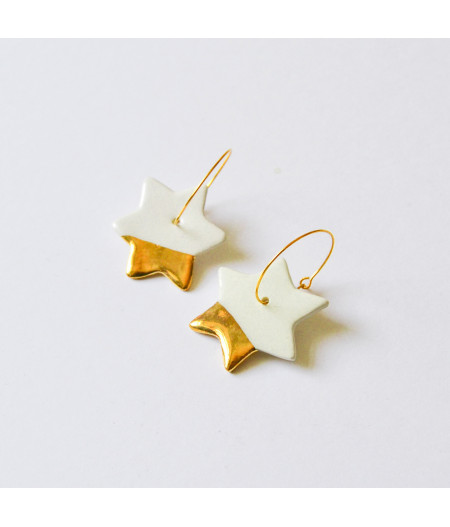 Cercei stele decorati cu aur sau platina, pe cerc - aur