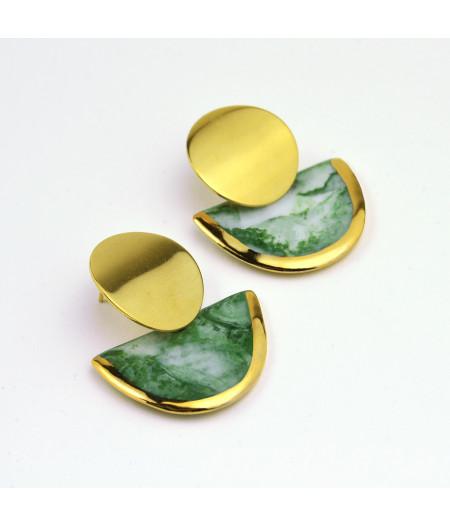 Cercei marmorati verzi