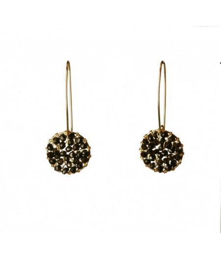 cercei Pendulum tesuti din gold filled de 14k /20 si turmaline negre