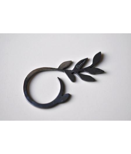 inel Vegetalia Mirabilia / filigree branch din argint oxidat