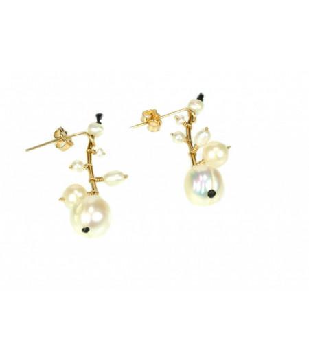 cercei Pearls Bouquet din gold filled de 14k/20 si perle de cultura