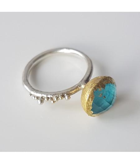 inel Sleeping Beauty din argint si granulatie aur 14k cu turcoaz de Arizona si cuart